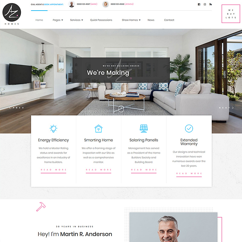 AZhomes - Local Home Builders WordPress Theme