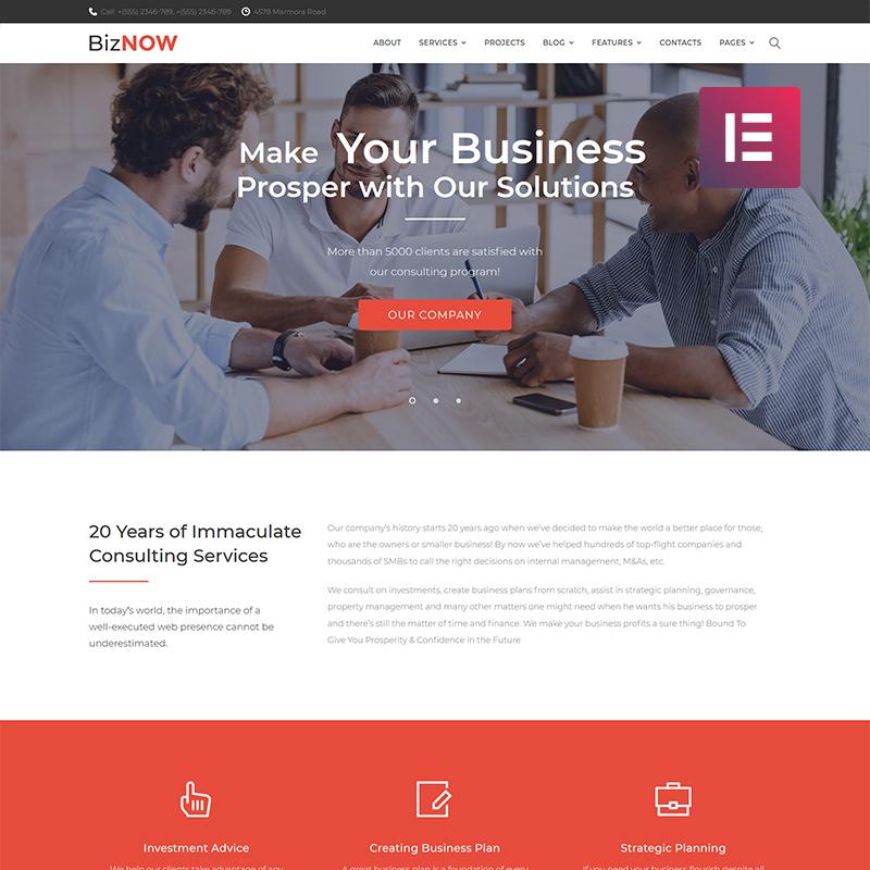 Biznow - Business Consulting Elementor WordPress Theme