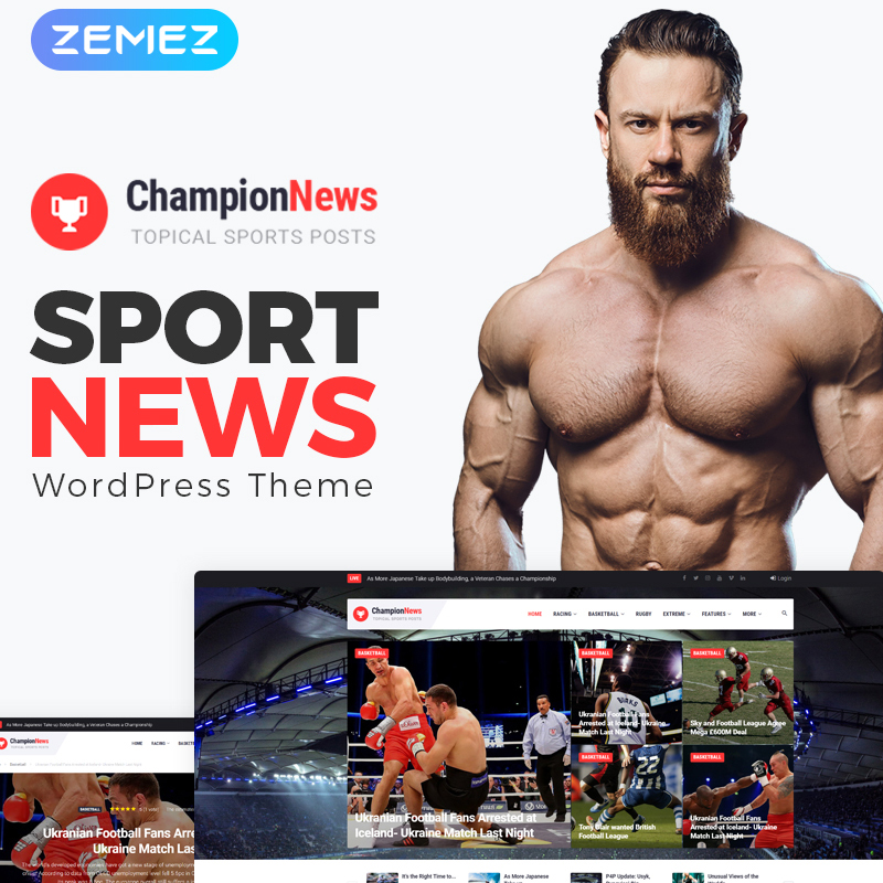 ChampionNews - Sports News Elementor WordPress Theme