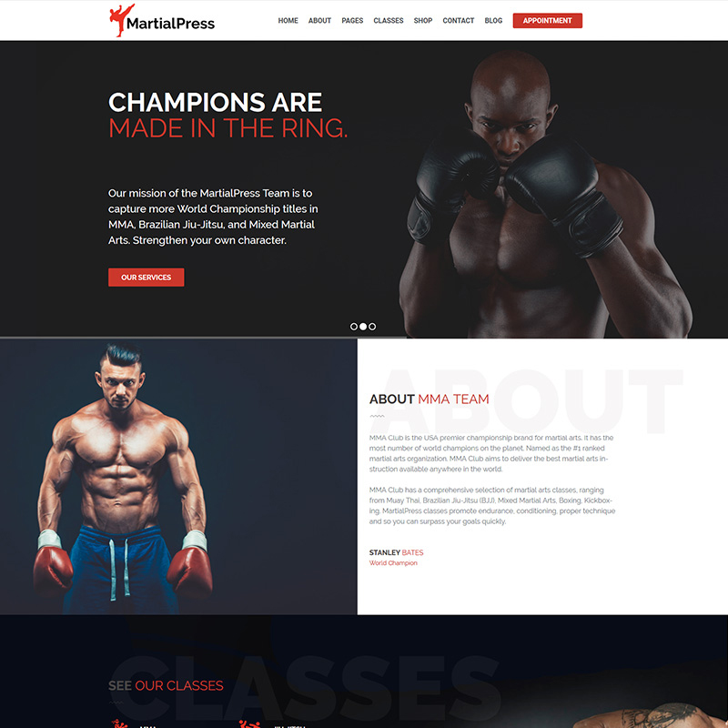 MartialPress - Martial Arts School and Club WordPress Theme