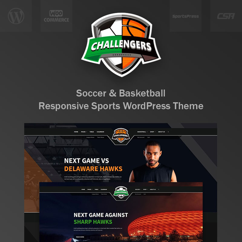 Challengers - Soccer and Basketball Club Sports WordPress Theme