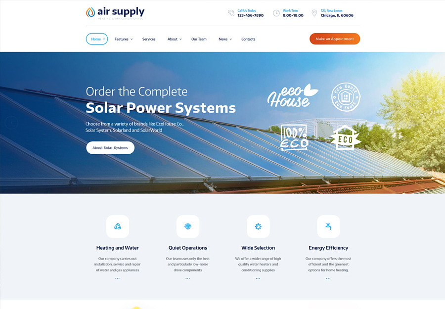 Air Supply | Conditioning Company and Heating Services WordPress Theme + RTL