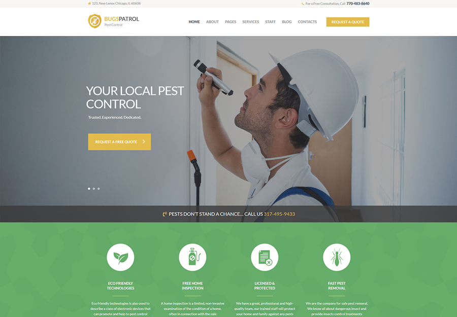 BugsPatrol - Pest Control Services WordPress Theme