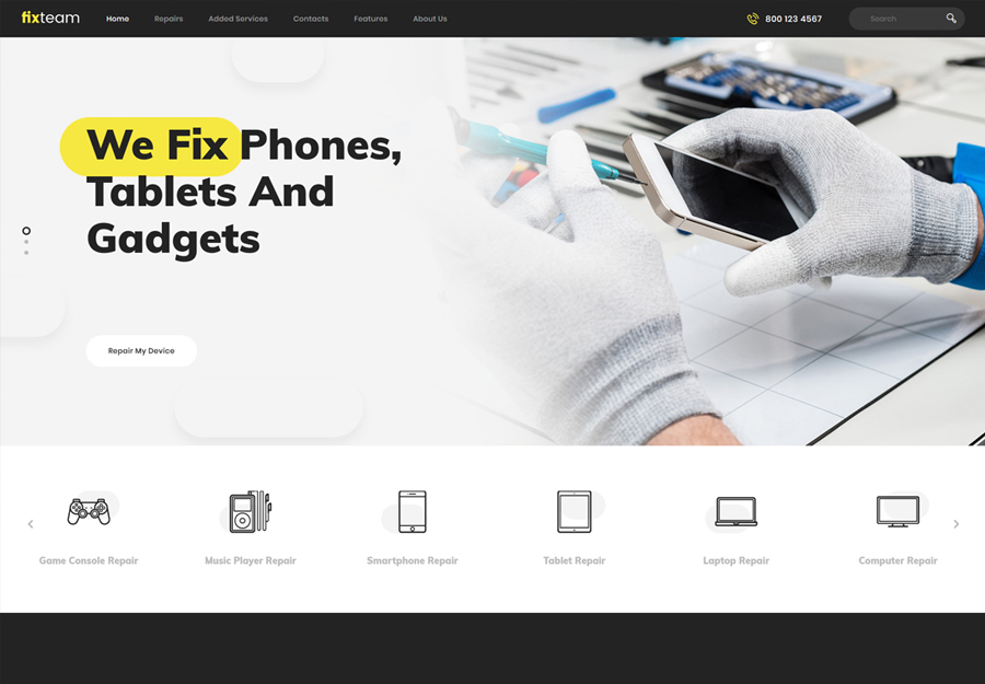 FixTeam | Electronics Repair WordPress Theme