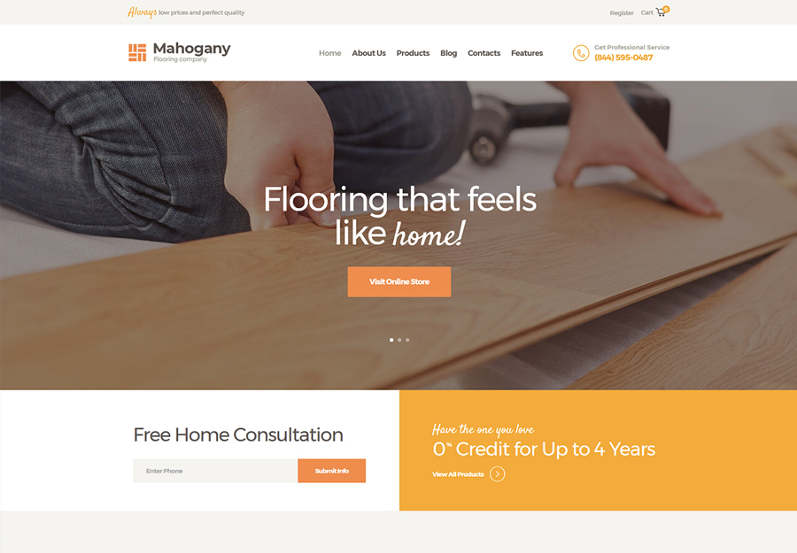 Mahogany | Flooring Company WordPress Theme