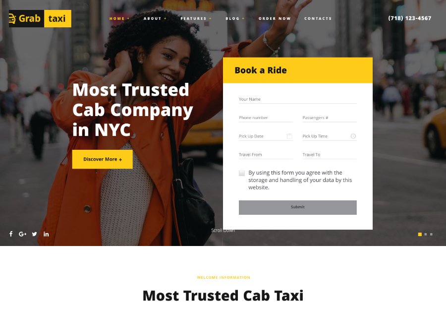 Grab Taxi | Online Cab Service WordPress Theme