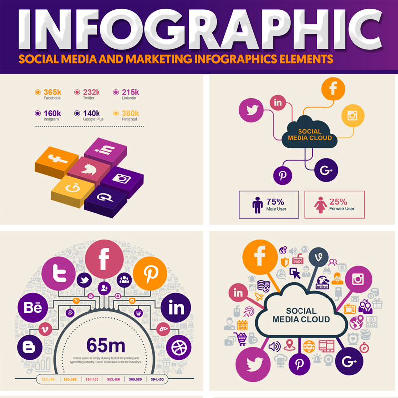 Social Media and Marketing Vector Elements Pack Infographic Elements