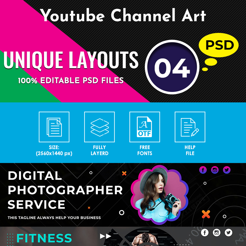Perfect YouTube Channel Art Template Social Media
