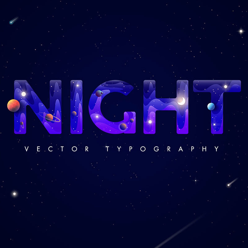 Night. Creative typography Night Illustration