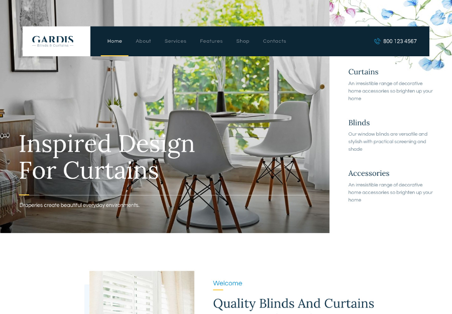 Gardis | Blinds and Curtains Studio & Shop WordPress Theme