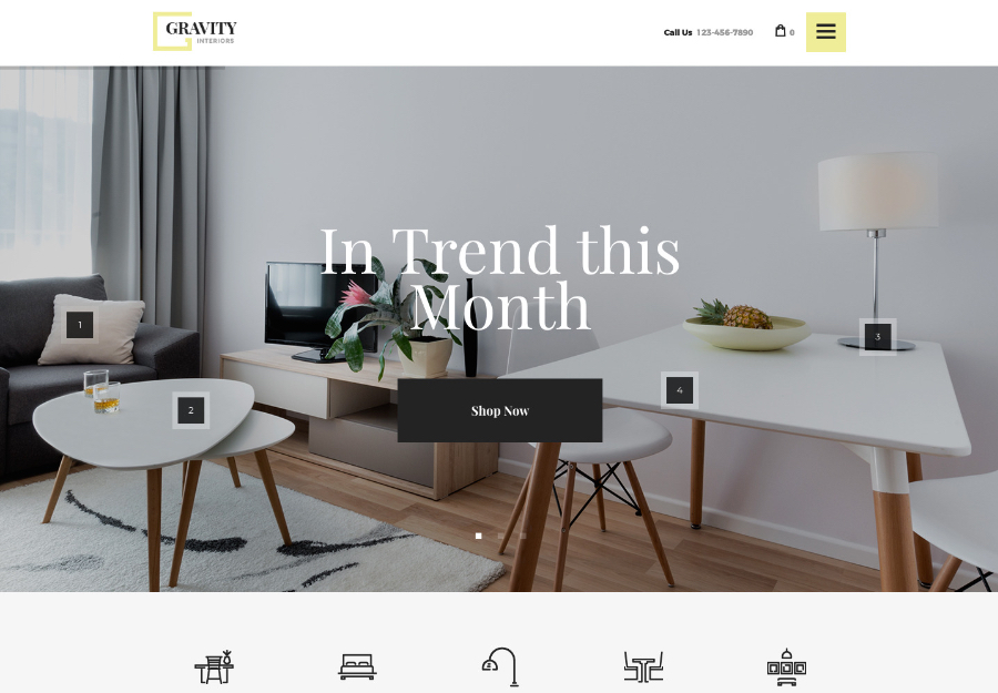 Gravity | A Contemporary Interior Design & Furniture Store WordPress Theme