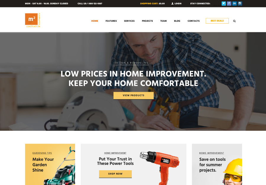 m2 | Construction Equipments and Building Tools Store WordPress Theme