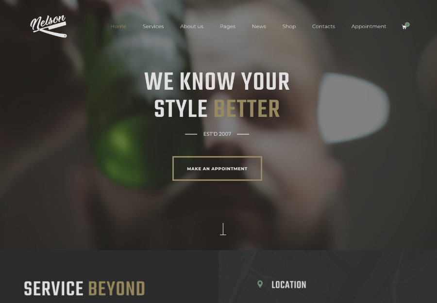Nelson - Barbershop Hairdresser & Tattoo Salon WordPress Theme