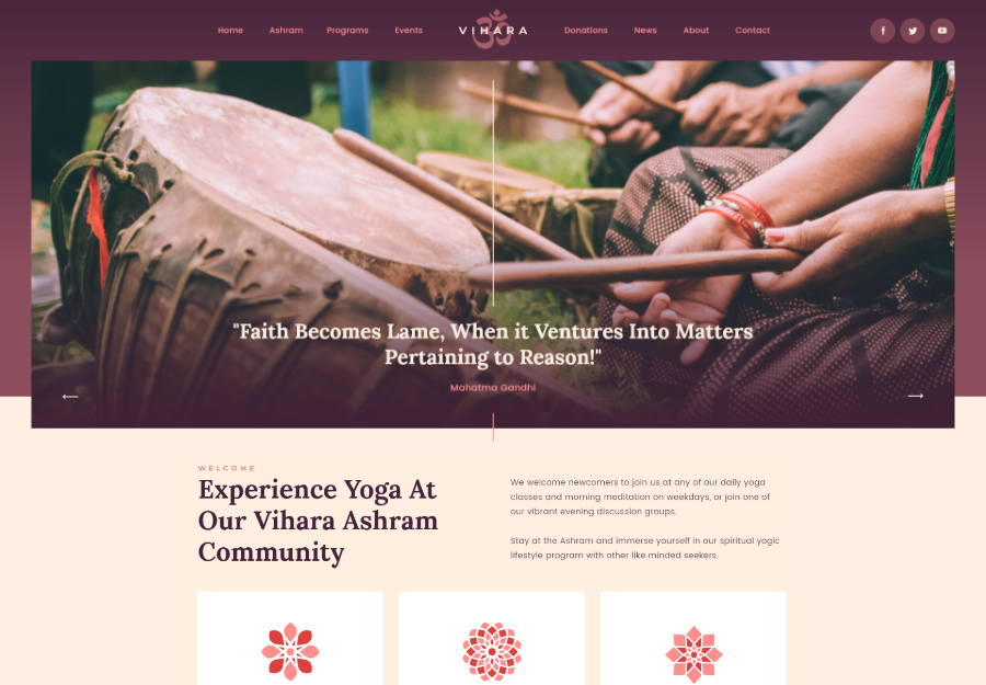Vihara | Ashram Oriental Buddhist Temple WordPress Theme