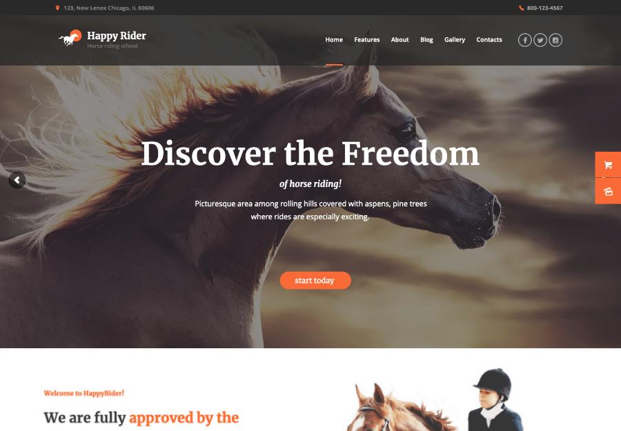 Happy Rider - Horse School & Equestrian Center WordPress Theme