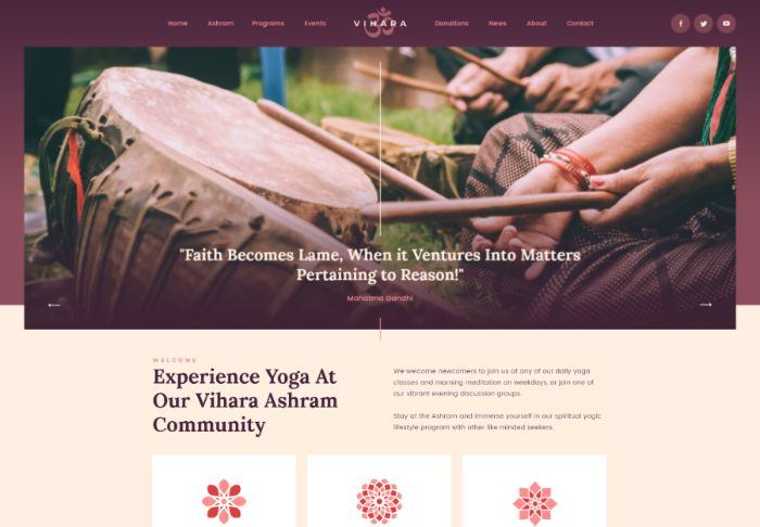 Vihara | Ashram Oriental Buddhist Temple WordPress Theme