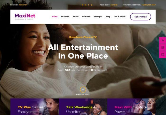 MaxiNet | Broadband & Telecom Internet Provider WordPress Theme