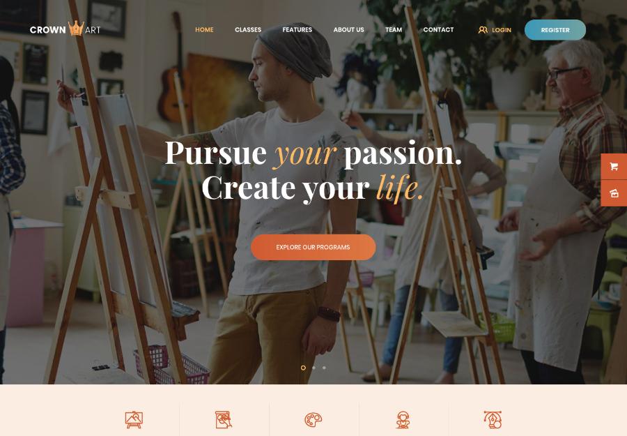 Crown Art | Drawing and Music School WordPress Theme