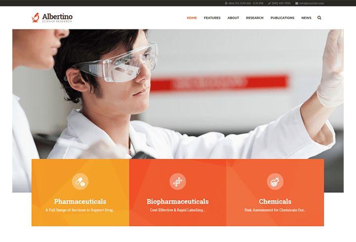 Albertino - Science Laboratory Research & Technology WordPress Theme