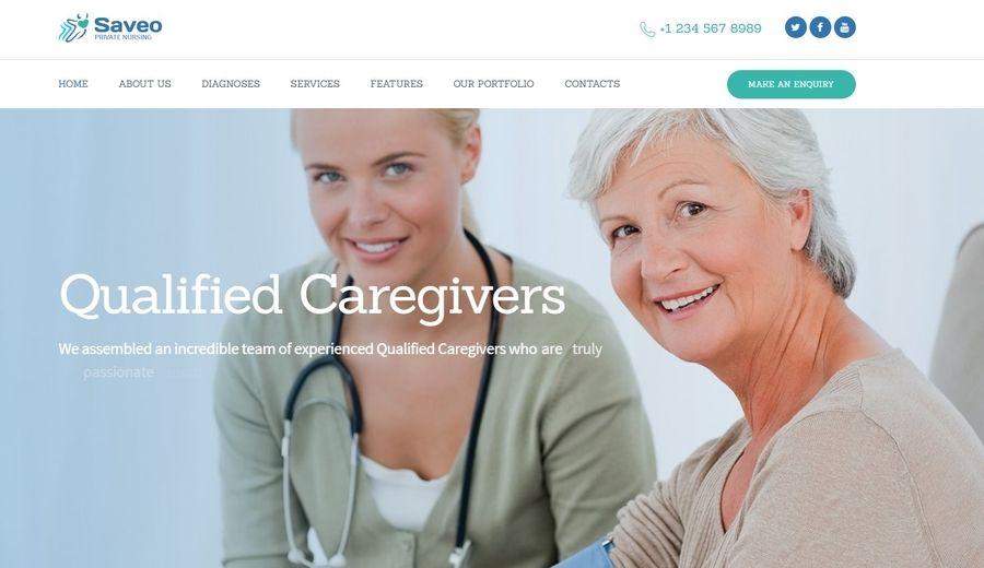 Saveo | In-home Care & Private Nursing Agency WordPress Theme