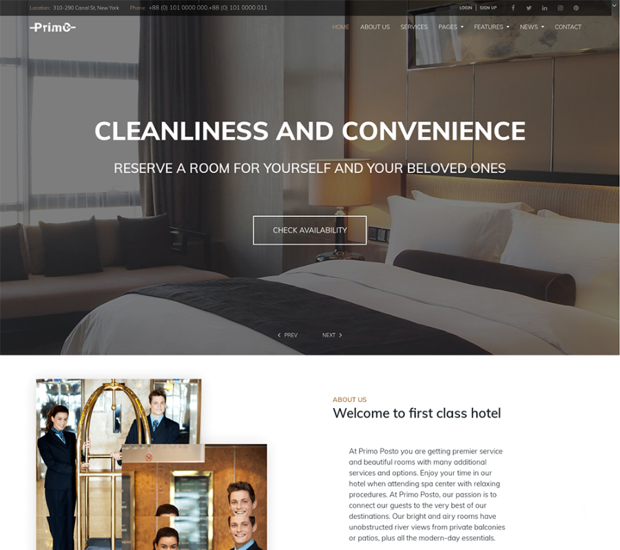 Primo - Hotel Elementor WordPress Theme