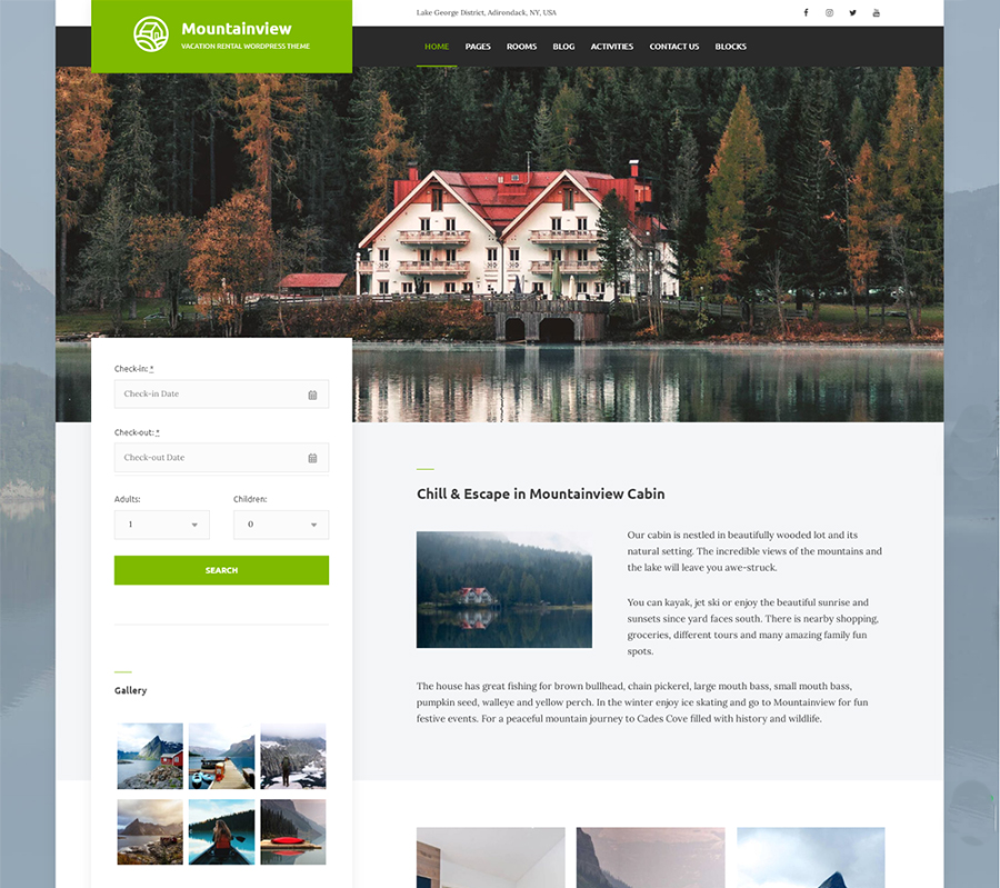 Mountain View - Vacation Rental WordPress Theme