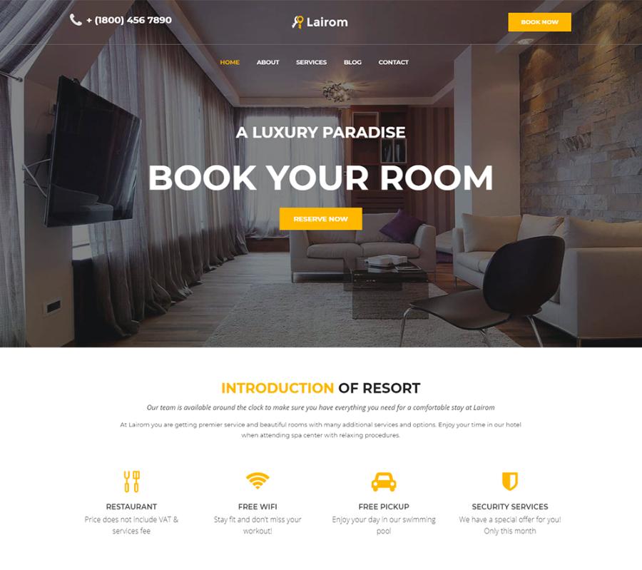 Lairom - Hotel Multipurpose Modern Elementor WordPress Theme