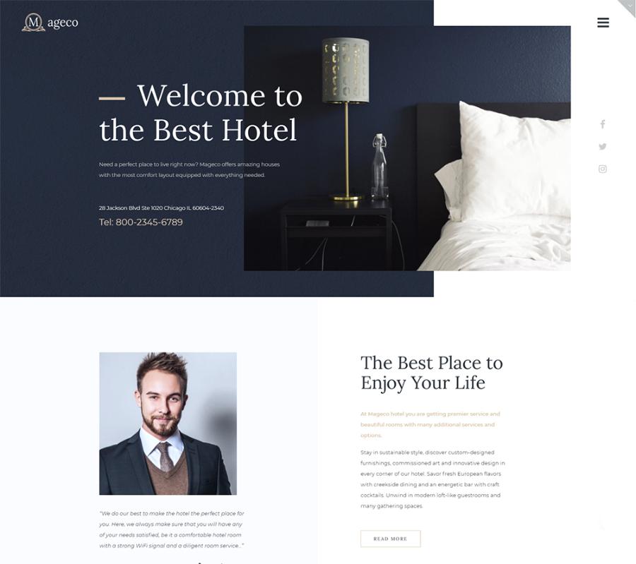 Mageco - Hotel Multipurpose Minimal Elementor WordPress Theme