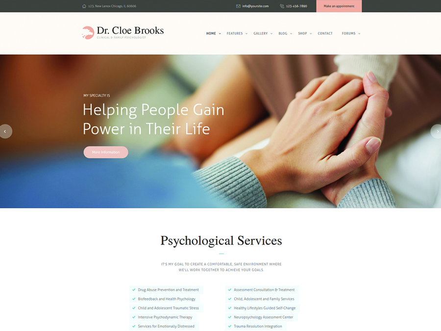 Cloe Brooks | Psychology, Counseling & Medical WordPress Theme + RTL