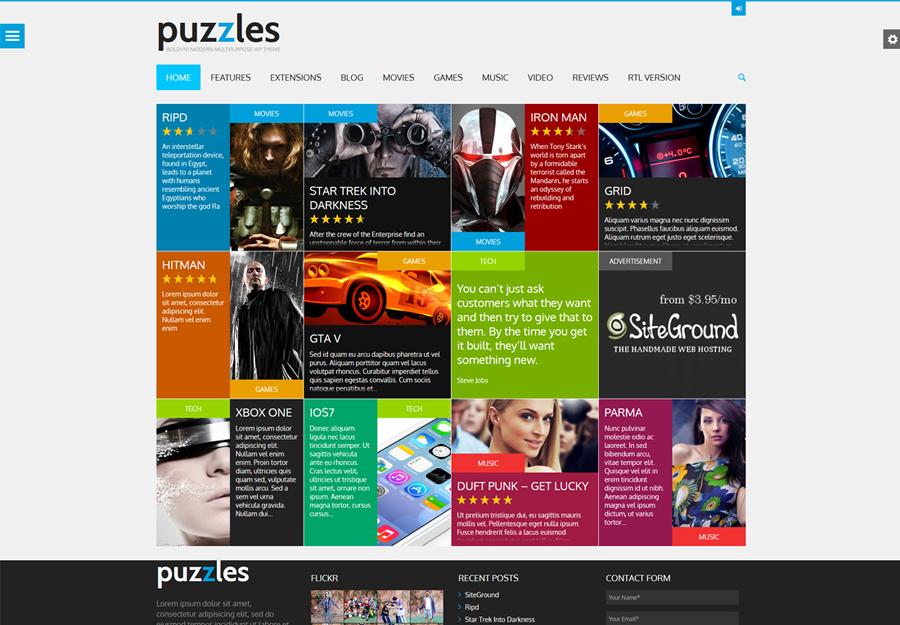 Puzzles   WP Magazine / Review with Store WordPress Theme + RTL