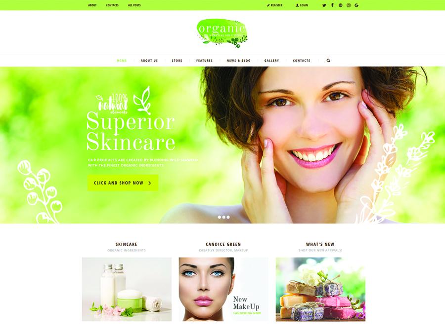 Organic Beauty Store & Natural Cosmetics WordPress Theme