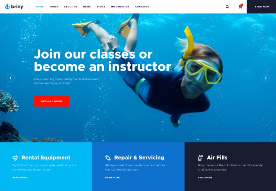 Briny | Scuba Diving School & Water Sports WordPress Theme + RTL