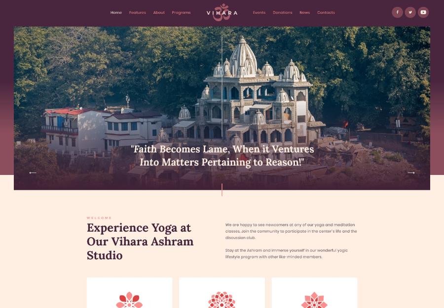 Vihara   Ashram Oriental Buddhist Temple WordPress Theme + RTL