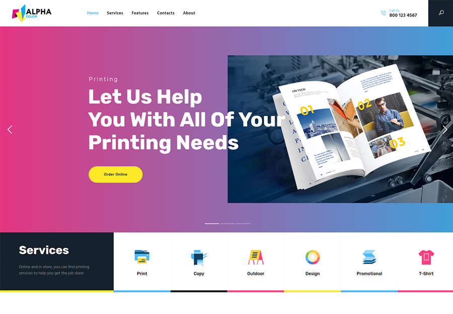 AlphaColor | Type Design & Printing Services WordPress Theme + Elementor