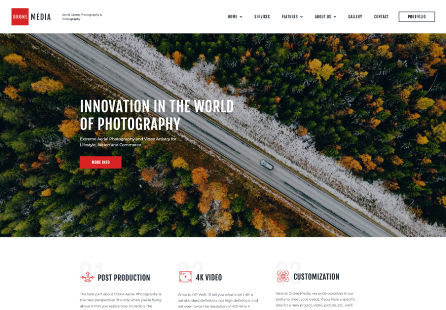 Drone Media | Aerial Photography & Videography WordPress Theme + Elementor