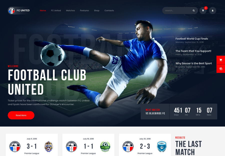 FC United | Football, Soccer & Sports WordPressTheme + RTL
