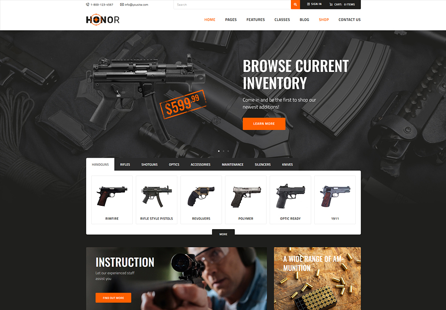 Honor | Shooting Club & Weapon Store WordPress Theme
