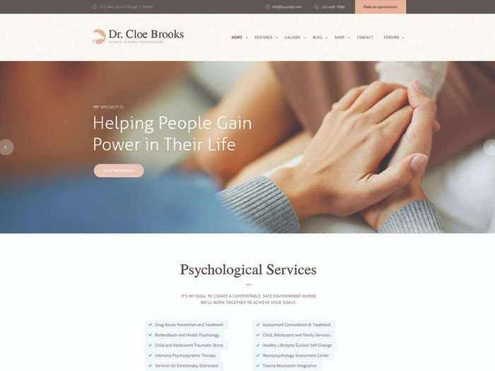 Cloe Brooks | Psychology, Counseling & Medical WordPress Theme + RTL