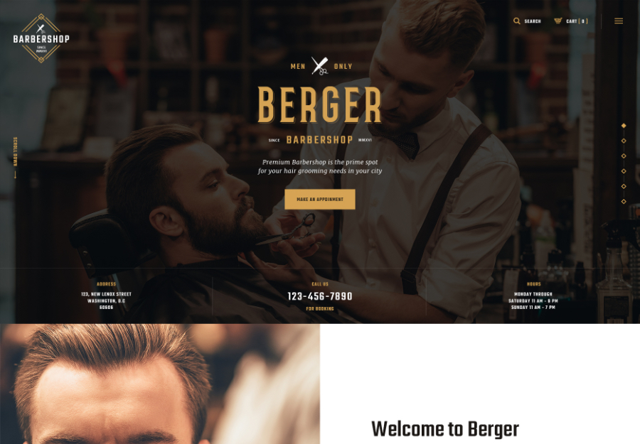 Berger | Barbershop and Hairdresser + Tattoo Salon WordPress Theme