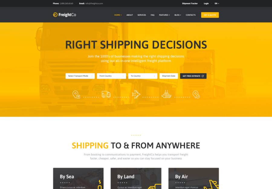 FreightCo | Transportation & Warehousing Shipping WordPress Theme