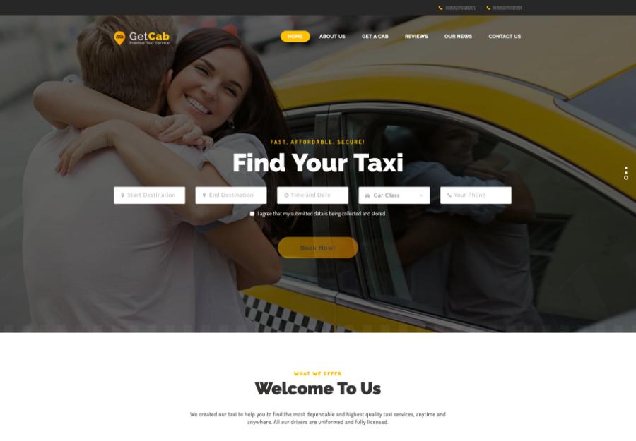 GetCab   Online Taxi Service WordPress Theme