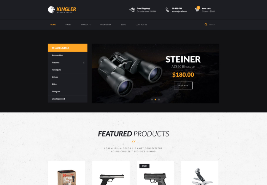 Kingler | Weapon Store & Gun Training WordPress Theme