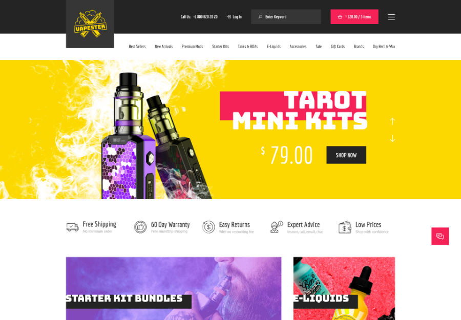 Vapester | Creative Cigarette Store & Vape Shop WooCommerce Theme
