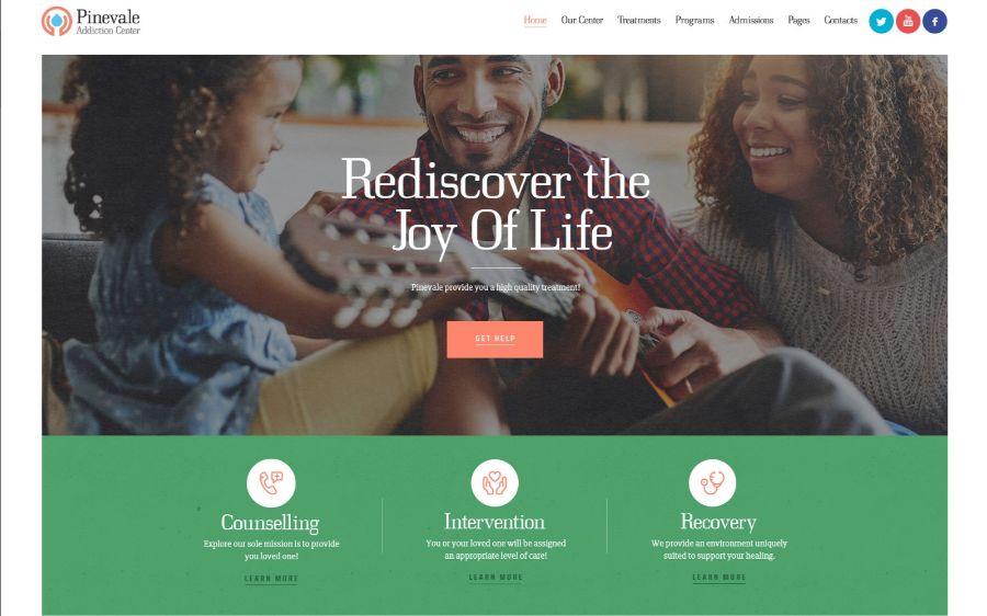 Pinevale   Addiction Recovery and Rehabilitation Center WordPress Theme