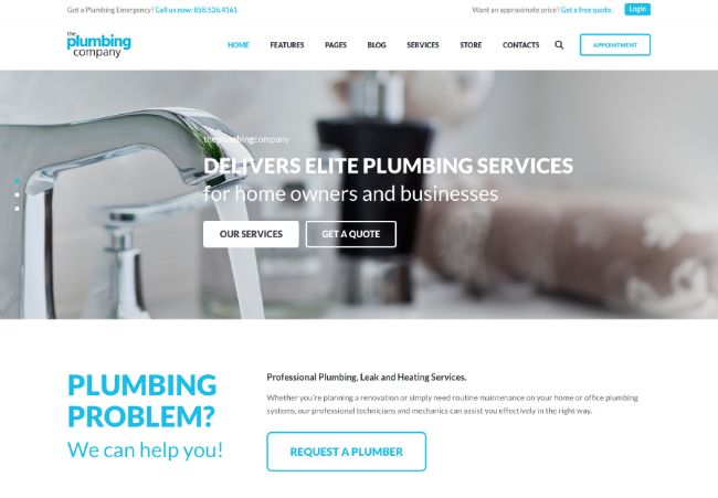 Plumbing - Repair, Building & Construction Elementor WordPress Theme